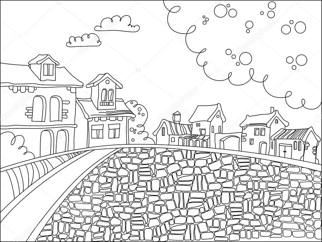 Plaza de la ciudad blanco y negro en estilo de dibujos animados ...