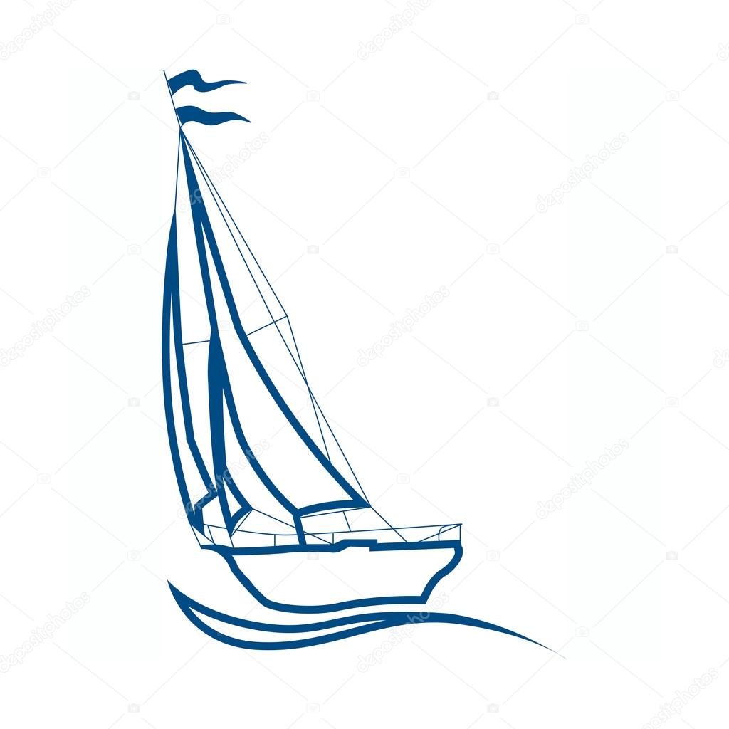 silueta de velero, vector de señal para la navegación — Vector de ...