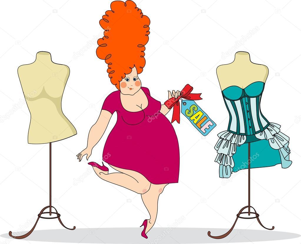 Mujer Bastante Gorda En Una Tienda De Ropa