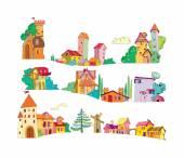 sada barevných kreslený domů, ručně malované