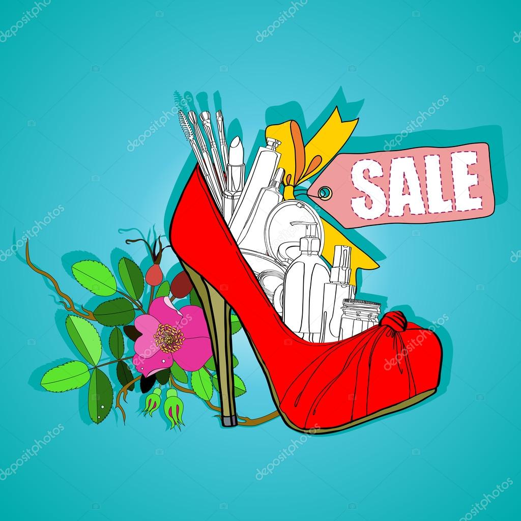 Poster  the sale of womens shoes and cosmetics