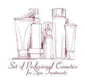 Fotografie set of professional cosmetics for spa treatments