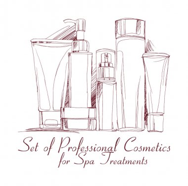 set of professional cosmetics for spa treatments