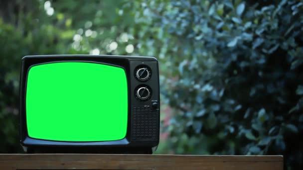 Vintage TV Green Screen Outdoor. Közelíts rá. Kicserélheti a zöld képernyőt a felvételre vagy képre, amit akar. Meg tudod csinálni a Keying hatás After Effects vagy bármely más videó szerkesztő szoftver (nézd meg útmutatók a YouTube-on).