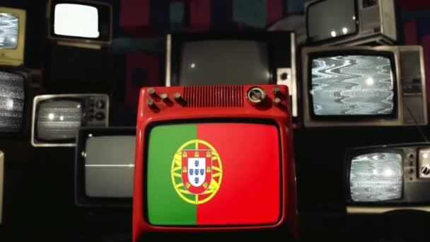 Térkép Portugal and Old Retro TVs.