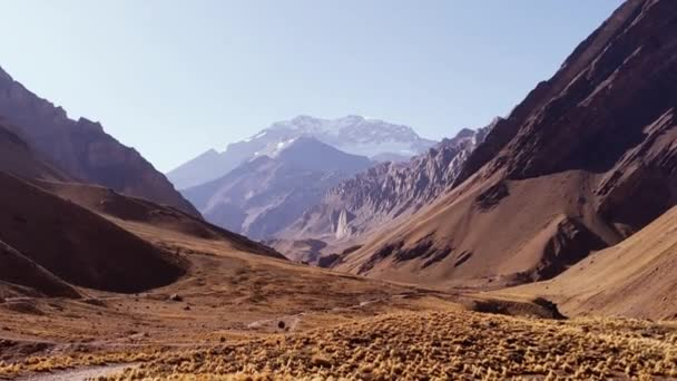 Aconcagua, the highest Mountain in the Americas and the highest outside of Asia, in the Andes Mountains, Argentina. Zoom In.