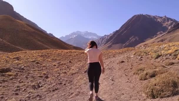 Young Woman walking towards the Mount Aconcagua, in the Andes Mountains, Argentina. Slow Motion. 4K Resolution.