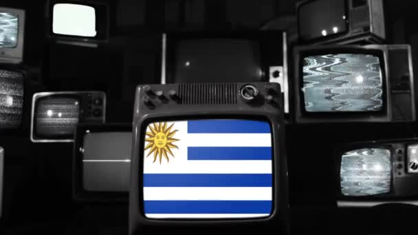 Flags of Uruguay and Retro Televisions. Black and White Tone. Zoom In.