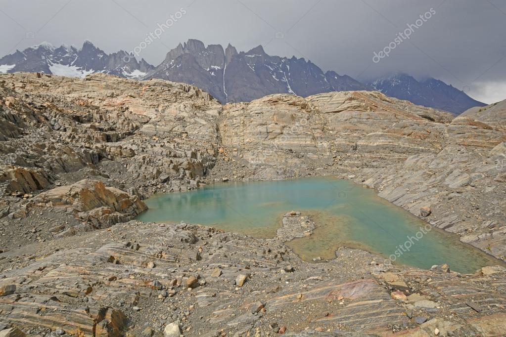 Colorful Lake on a Glacial Nunatak