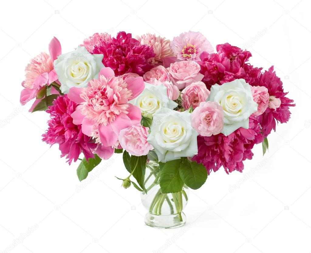 Peony and rose bunch isolated on white background