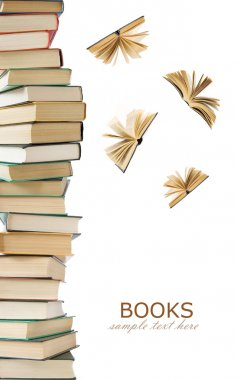 Book pile with open books flying away isolated on white background. Education concept