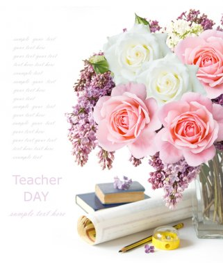 Teacher day (summer flowers bunch with roses, map and books isolated on white)