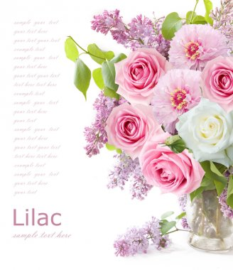 Lilac flowers, roses and tulips bunch in vase isolated on white background