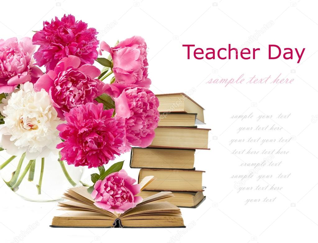 Teacher day (still life with bunch of peonies and pile of books isolated on white)