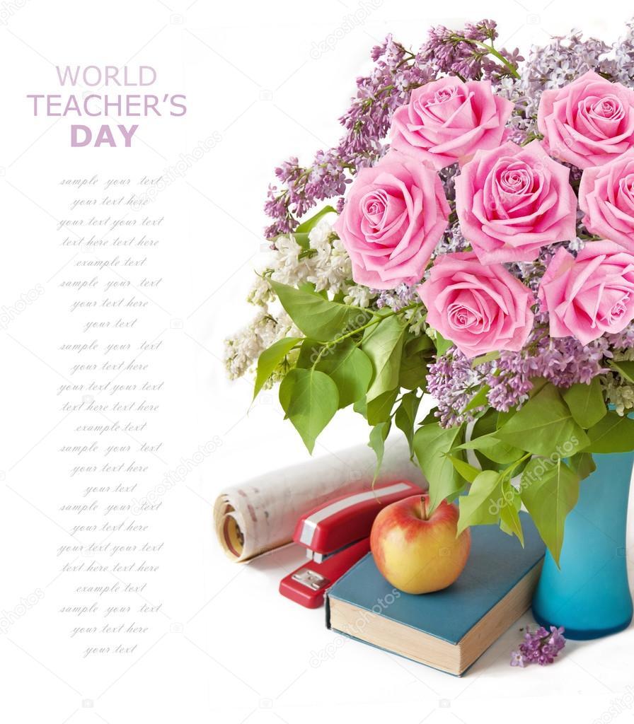 Beautiful Quotes For Teachers Day Cards: Cartão De Dia Do Professor Com Flores