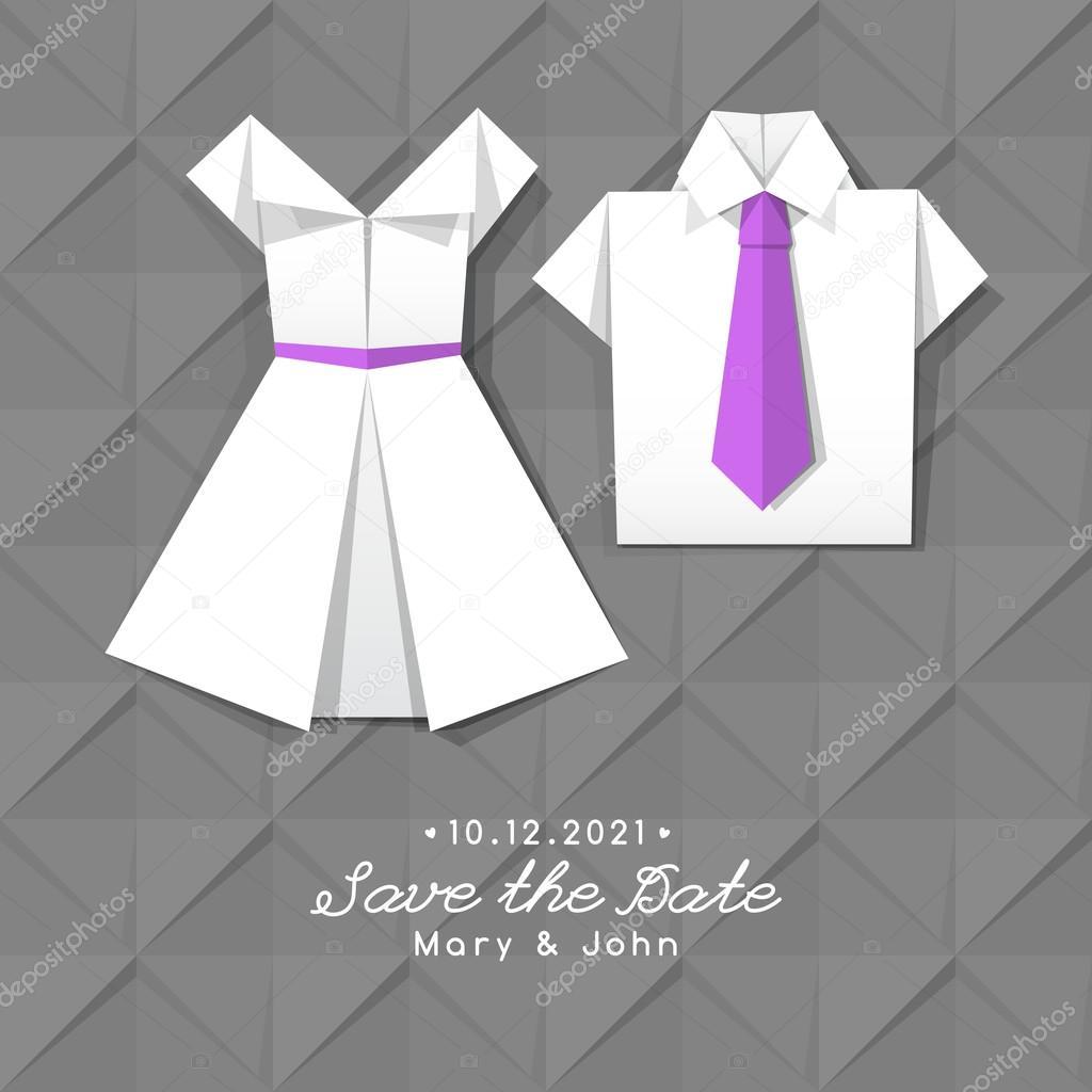 Vektor Origami Kleid Und Shirt, Hochzeit Einladung Vorlage U2014 Vektor Von  Redcollegiya