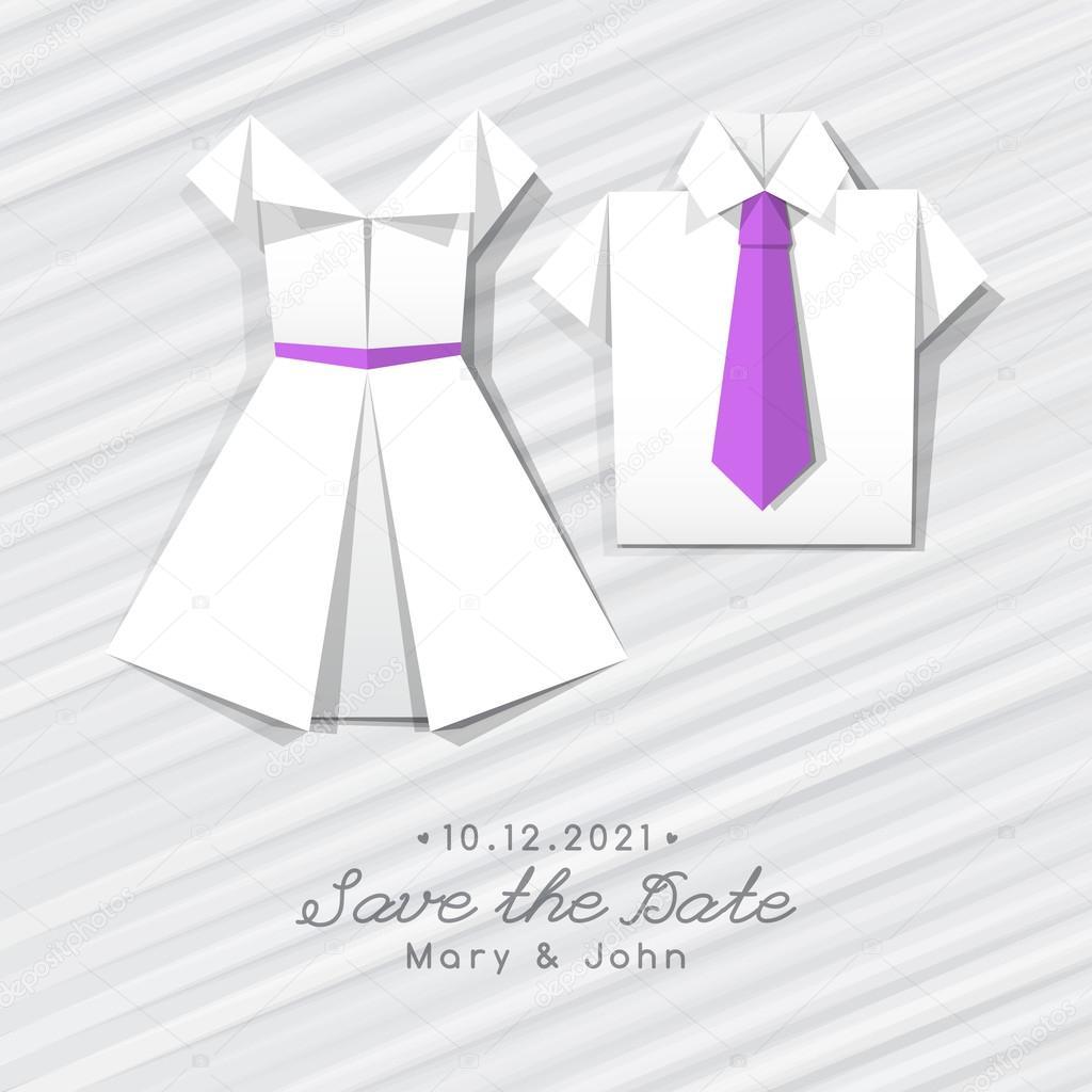 Robe origami et chemise invitation de mariage image vectorielle redcollegiya 114111524 - Robe en origami ...
