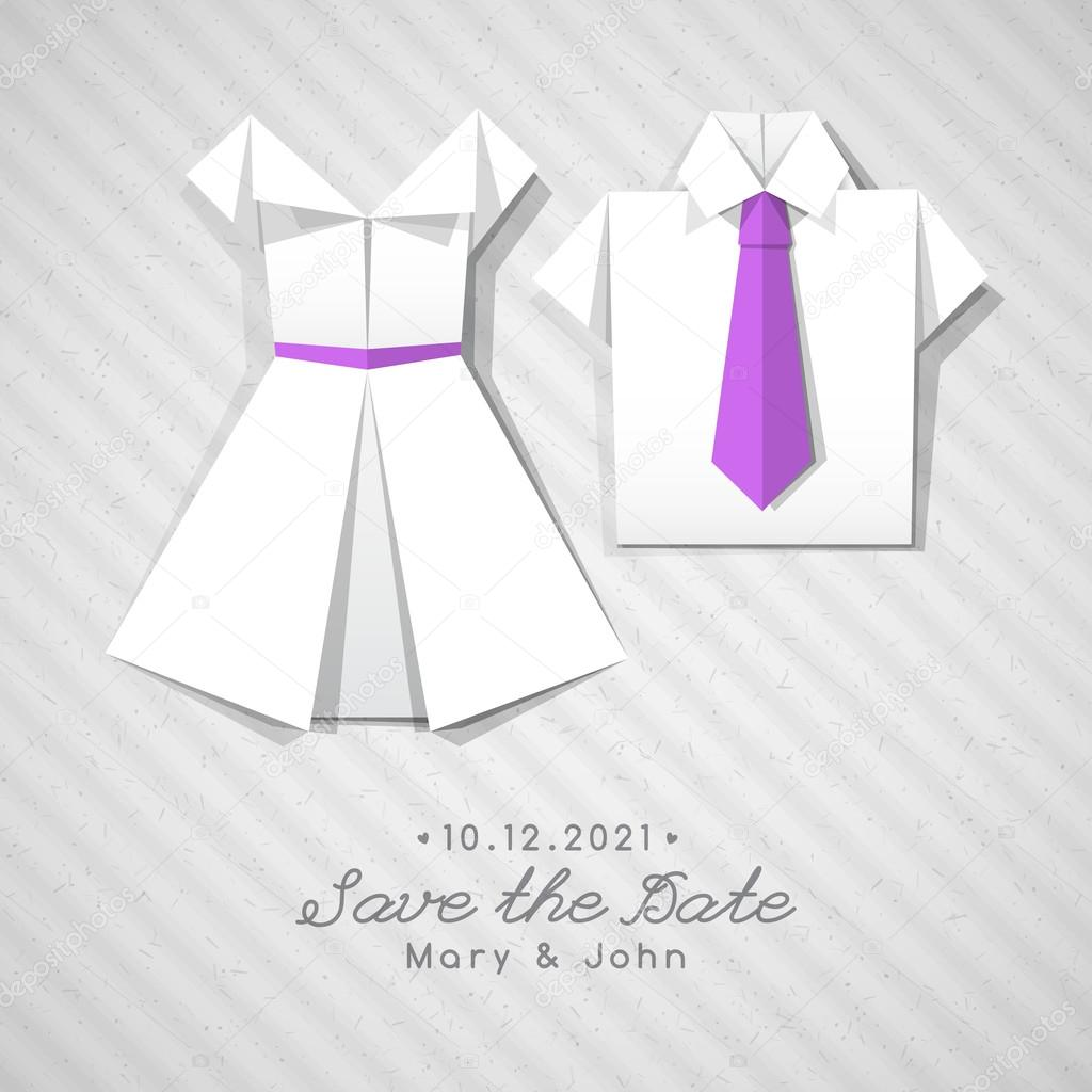 origami dress and shirt, wedding invitation — Stock Vector ...