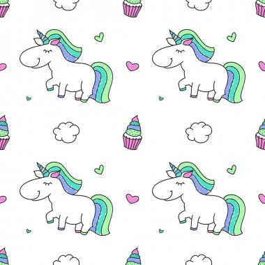 Vector seamless pattern of cartoon cute unicorns with rainbows, clouds and sweets clip art vector