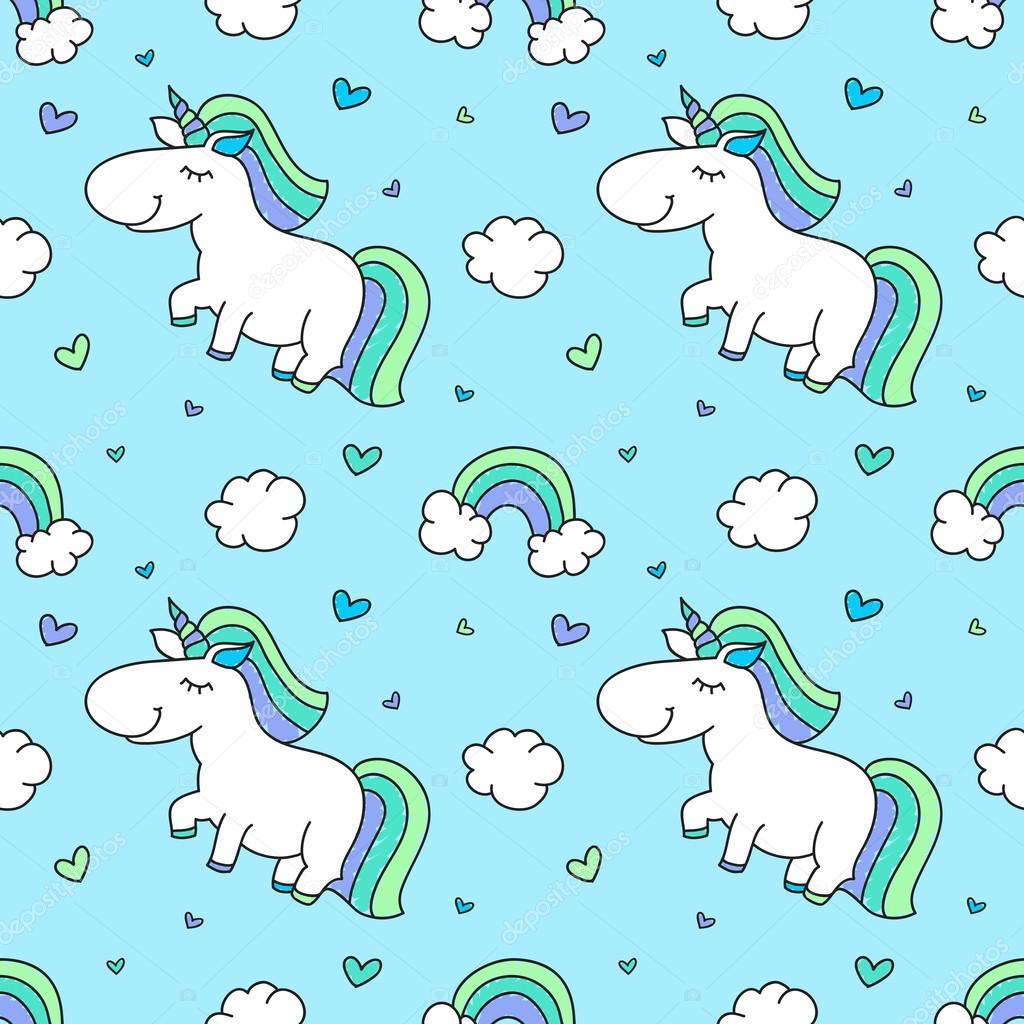 baby seamless pattern with unicorns