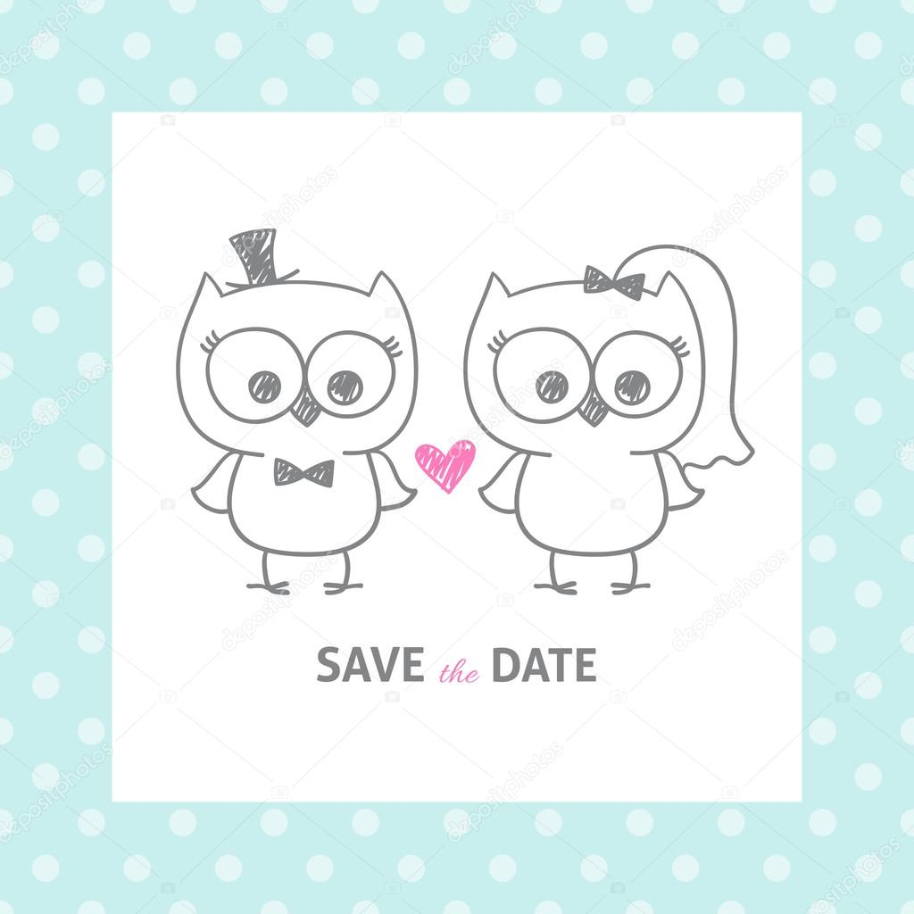 Wedding owls stock vector redcollegiya 57832635 two cute owls wedding invitation vector hand drawn illustration vector by redcollegiya stopboris Choice Image