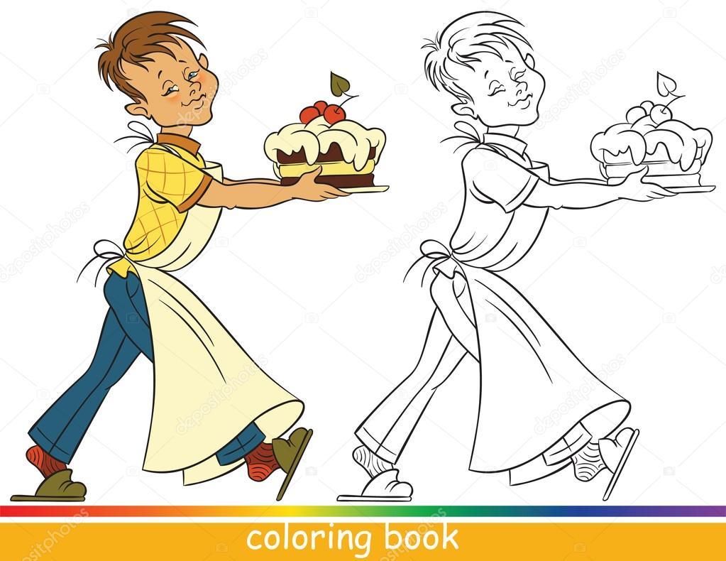 Cómo Dibujar Libro Para Colorear Pastel Para Niños: Libro De Colorear. Muchacho Con Un Pastel
