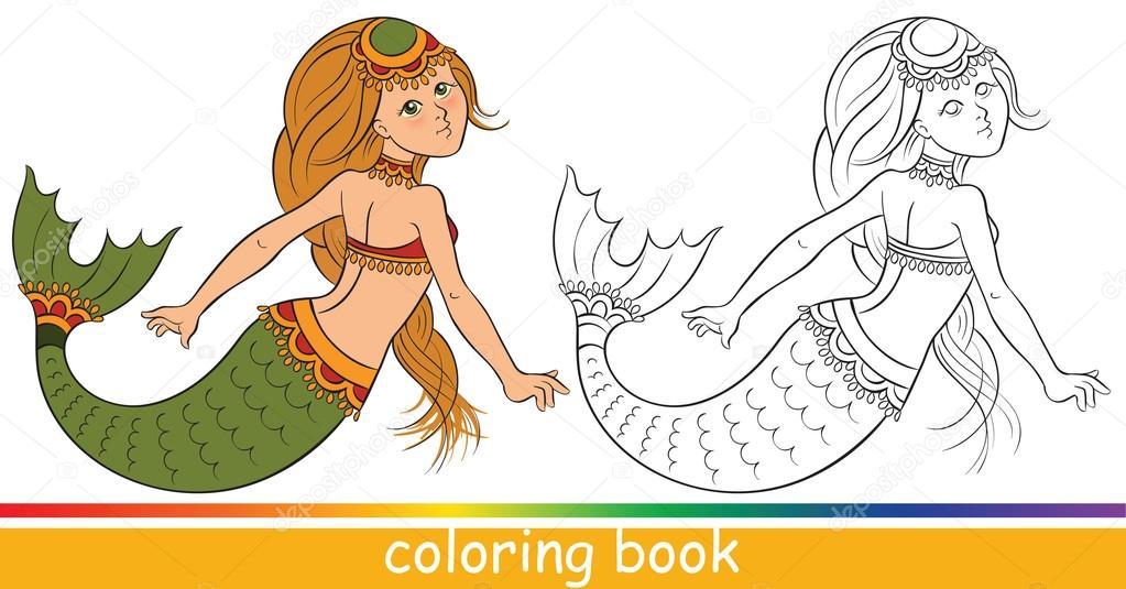 Libro de colorear. Linda joven sirena — Vector de stock © Aura ...