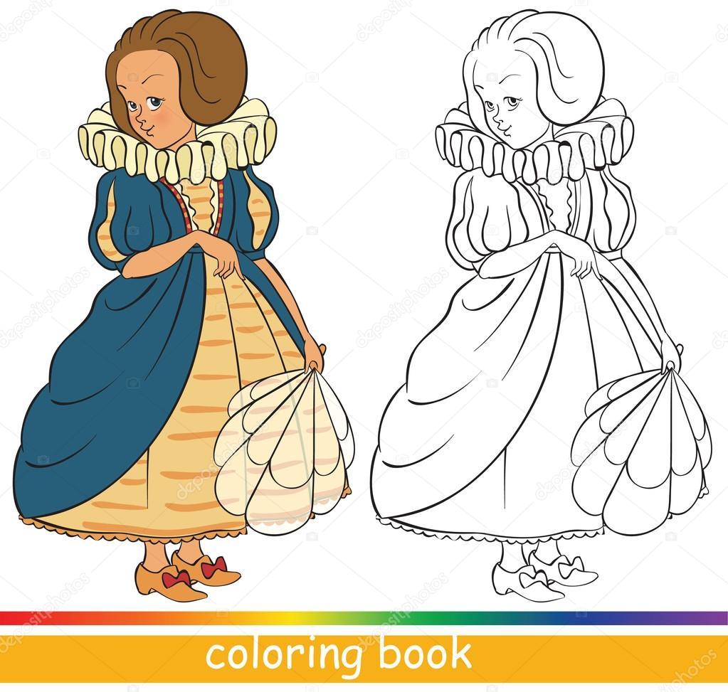 Libro de colorear. Linda joven princesa — Vector de stock © Aura ...