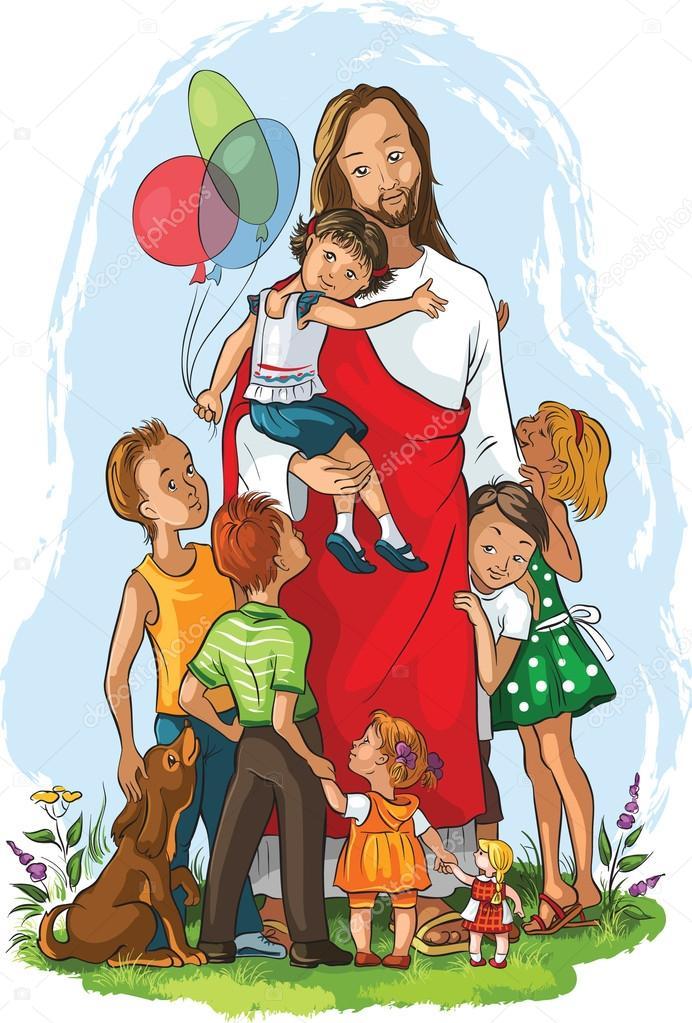 jezus en kinderen stockvector 169 aura 58218619