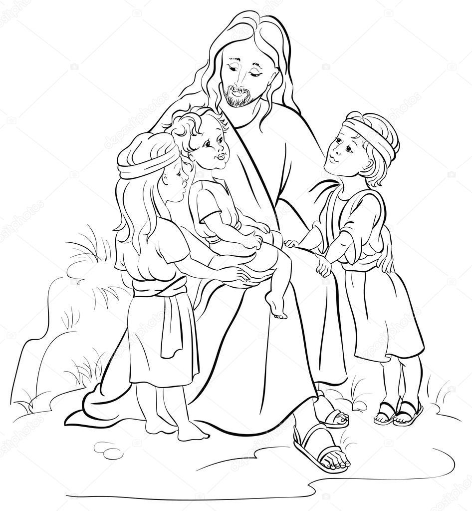jezus en kinderen geschetst stockvector 169 aura 58219131