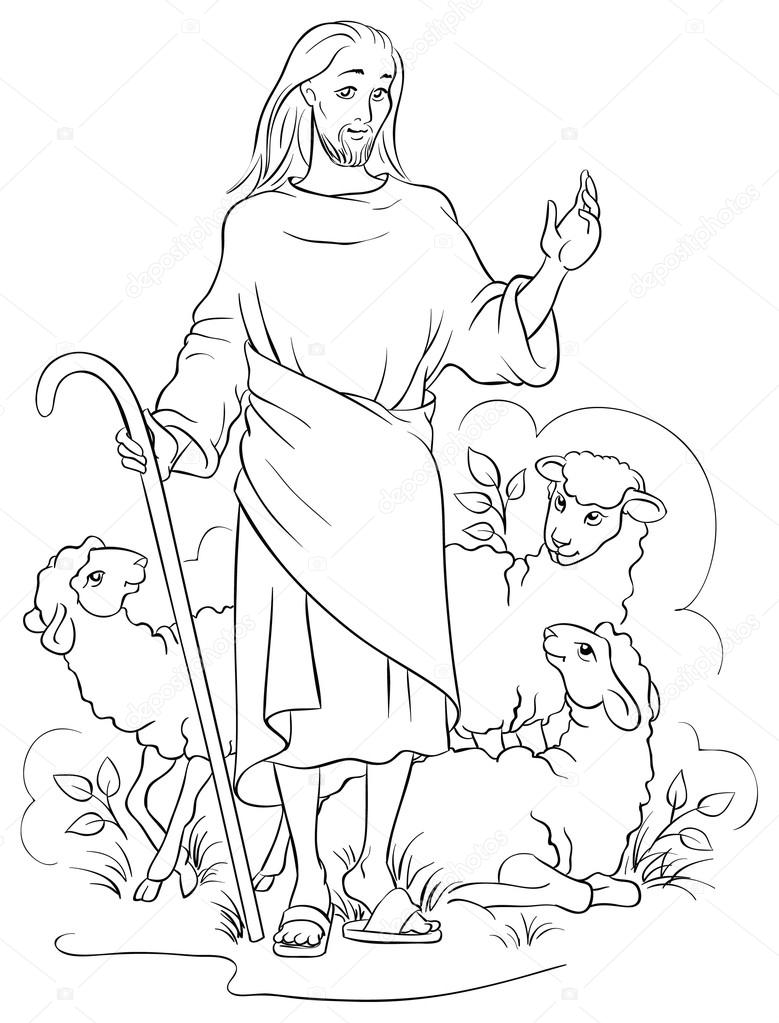 Jesus is a good shepherd Colouring page Also available colored