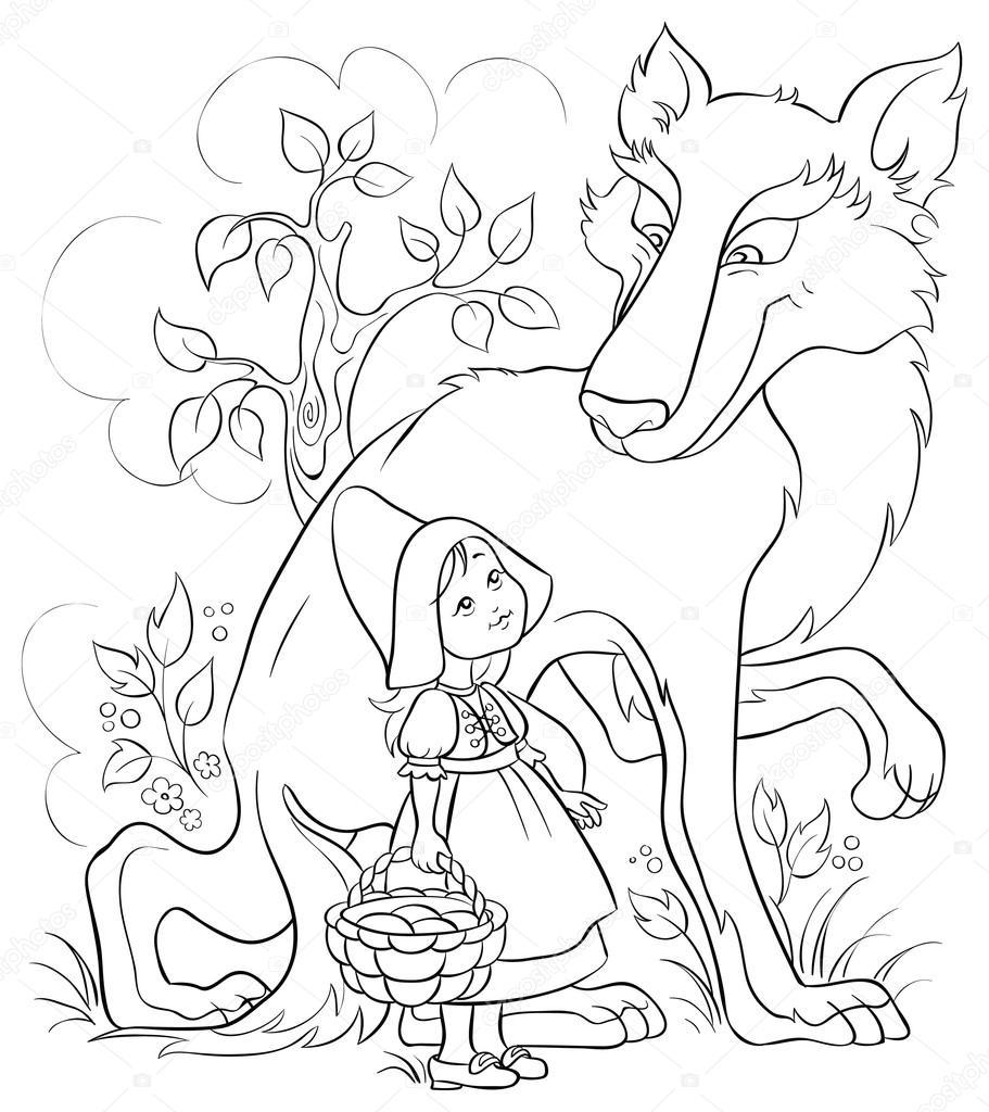 Poco Caperucita Roja y el lobo en el bosque. Página para colorear ...