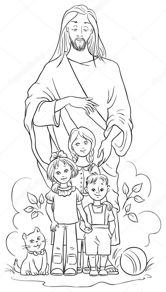Jesús Con Los Niños Página Para Colorear También Disponible