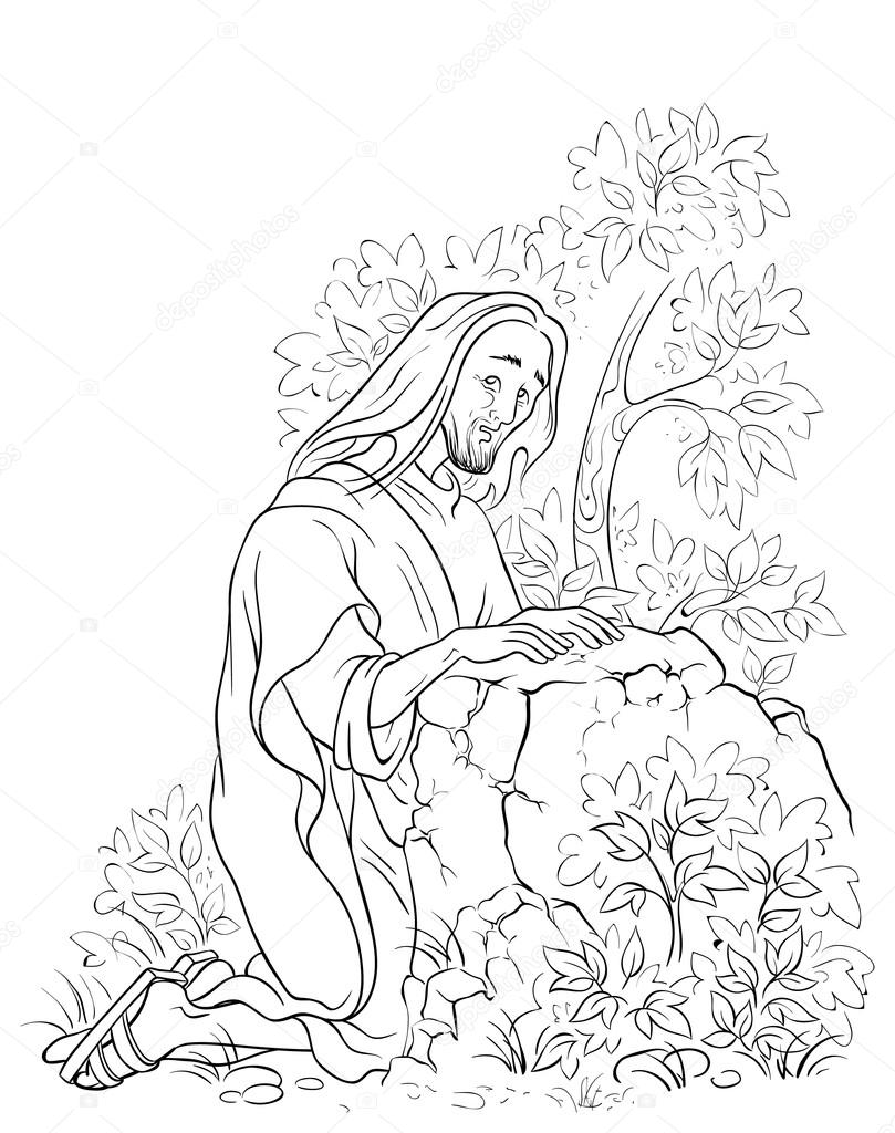 Agonía en el huerto. Jesús en la escena de Getsemaní. Noche antes de ...