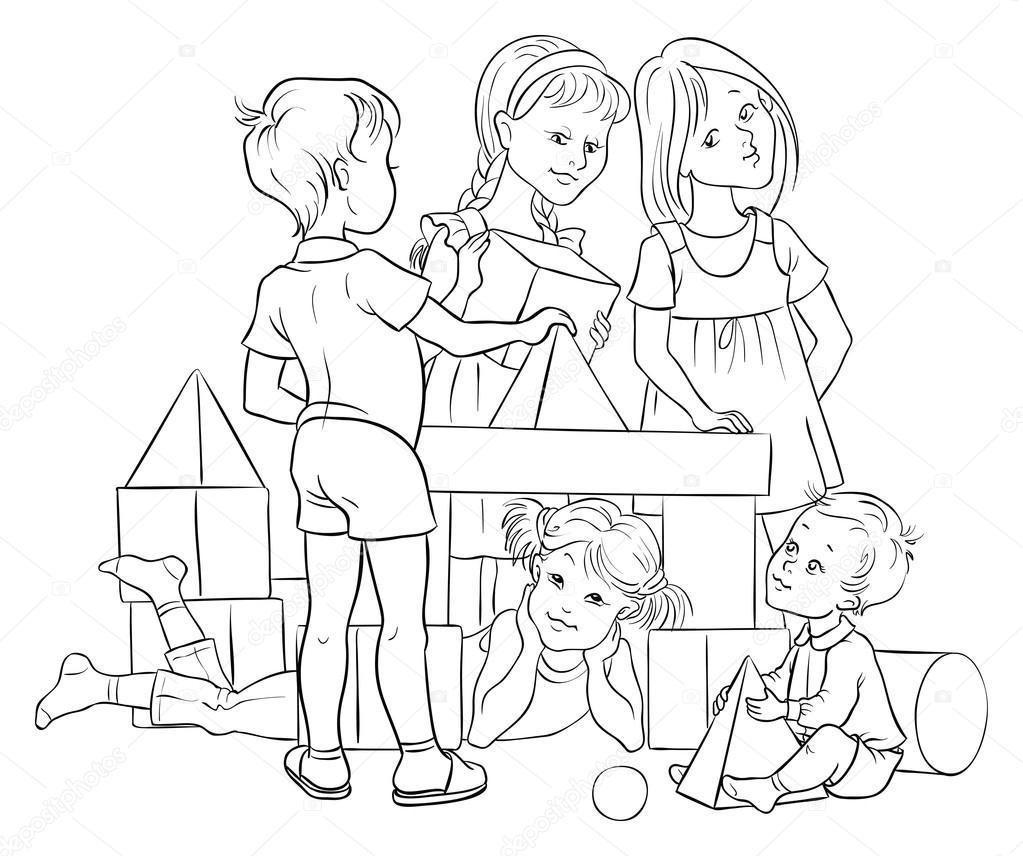 Se indica. Niños jugando con bloques de colores — Archivo Imágenes ...