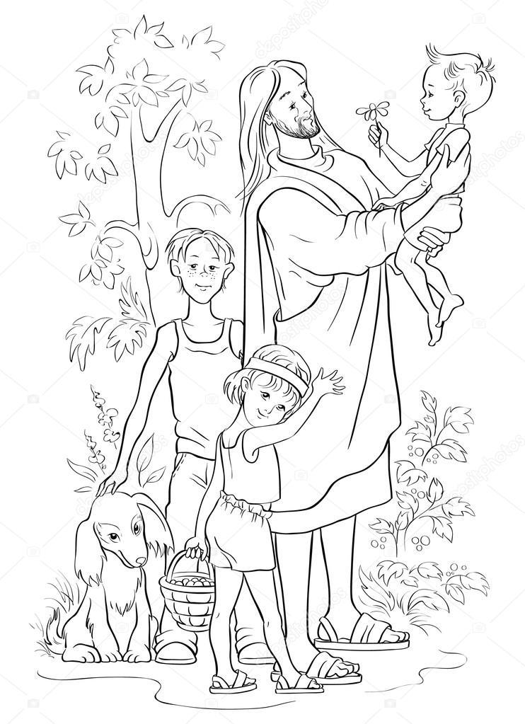 Jesus mit Kindern beschrieben — Stockvektor © Aura #89887624