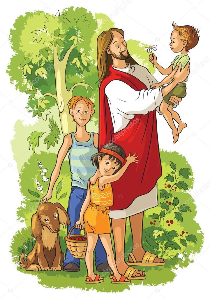 jezus met kinderen stockvector 169 aura 89887686