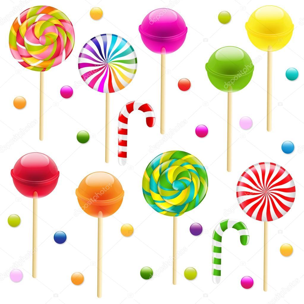 Conjunto grande de caramelo de palo — Vector de stock © barbaliss ...