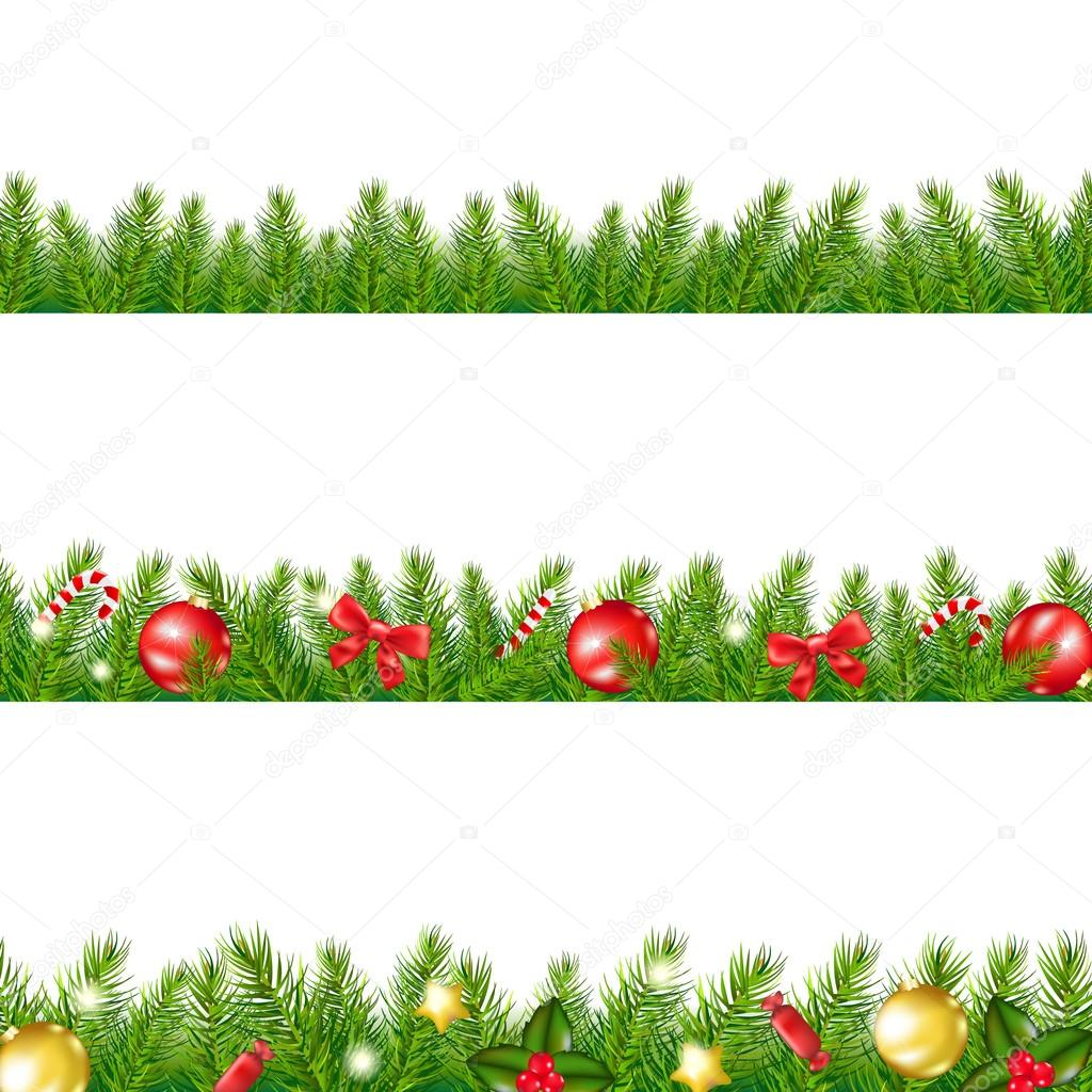 Christmas Border With Fir Tree