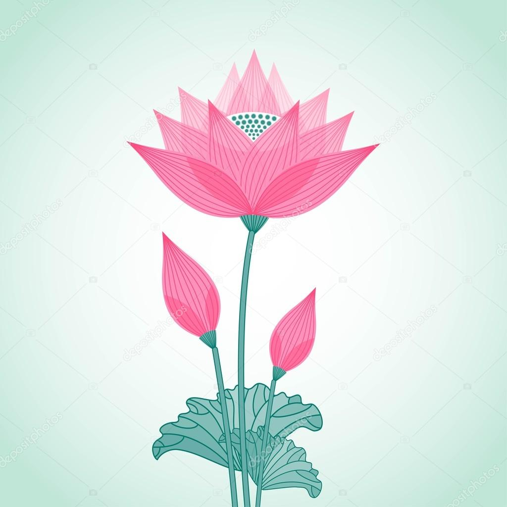 isolated decorative stylized lotus flower with two buds