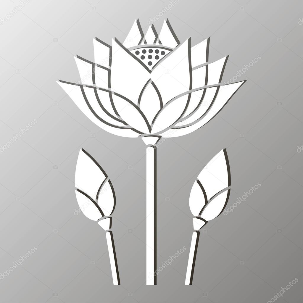Monochrome Mosaic Of A Stylized Lotus Flower Design Stock Vector