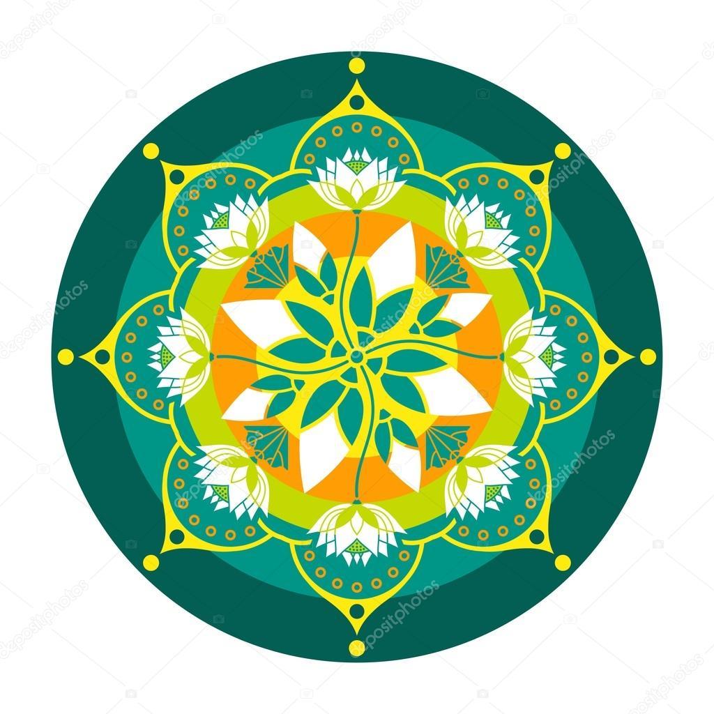 Dibujos Mandala Con Flor De Loto Patrón De Colores Mandala De
