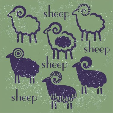 sheep set against a dark background design new year symbol