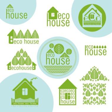 set of eco houses natural materials green design