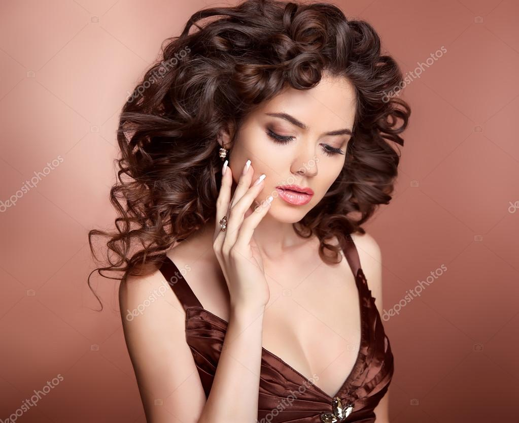 Hairstyle Beautiful Girl With Long Curly Hair Brunette Woman W