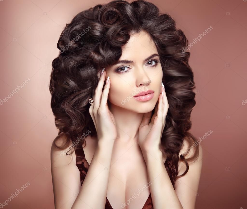 Curly Hairstyle Beautiful Girl With Long Wavy Hair Brunette He