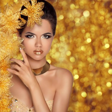 Glamorous beauty fashion girl portrait. Beautiful Young Woman wi