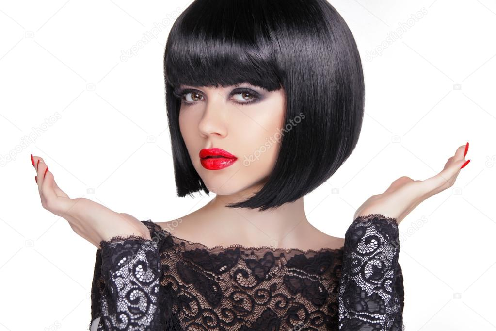 black bob short hairstyle brunette girl model with open hands on white background u foto de