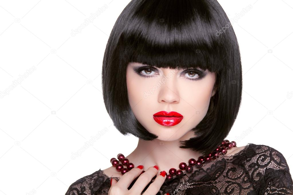 7e3e81c19 Black bob hairstyle. Red lips. Brunette Girl with short Healthy Hair  isolated on white studio background.