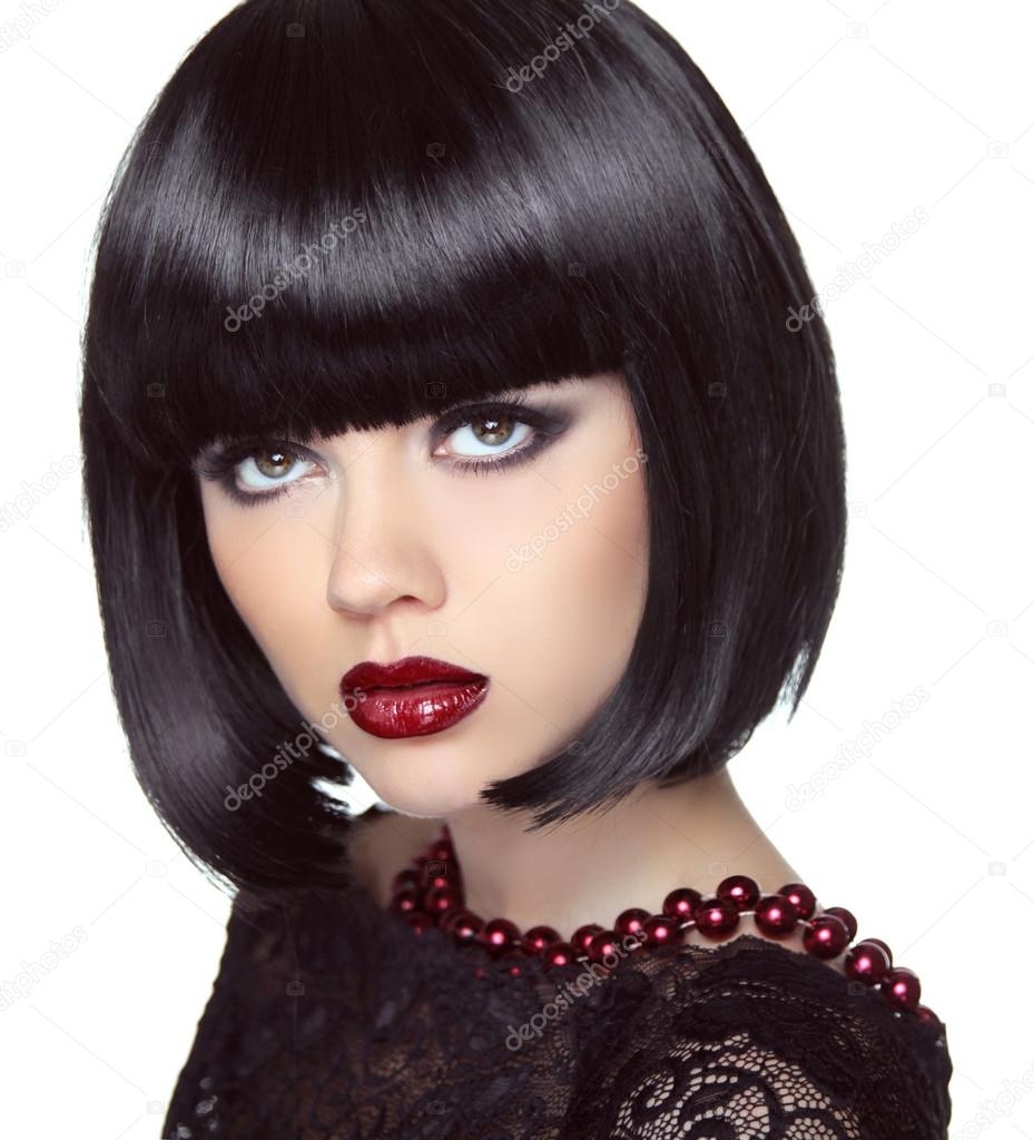 Black Short Bob Hairstyle Fashion Brunette Girl Model With Make Stock Photo Victoriaandrea
